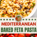 Baked Feta Pasta Two picture collage pin