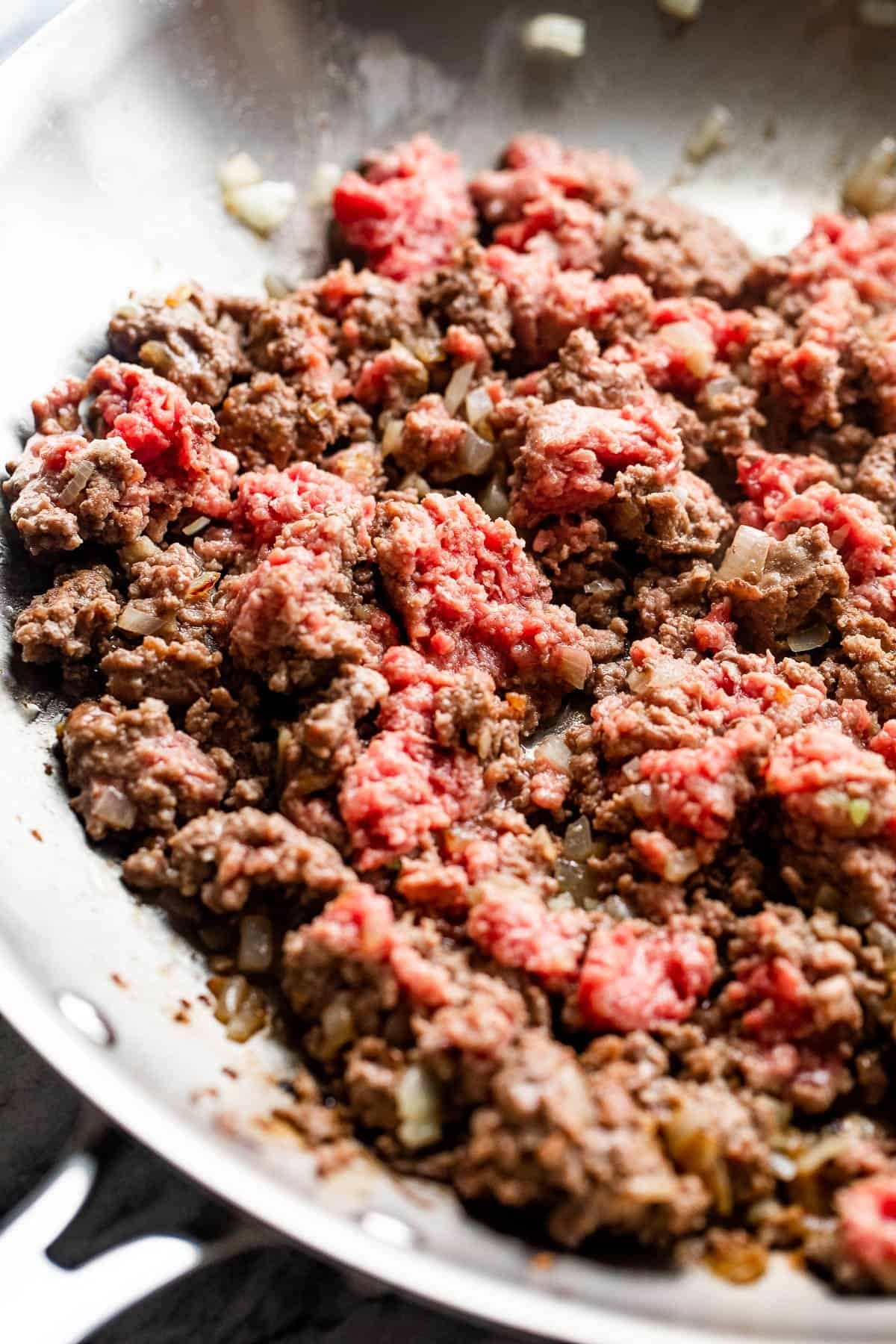 cooking ground meat in a skillet