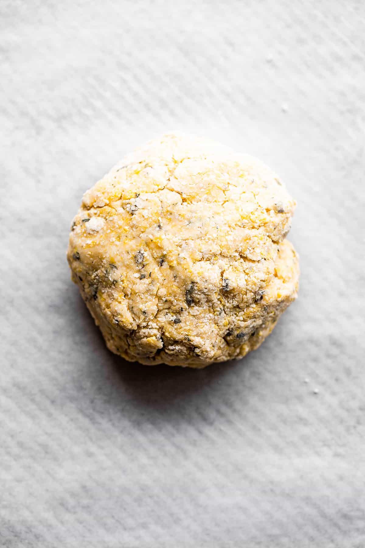 ball of dough for homemade crackers