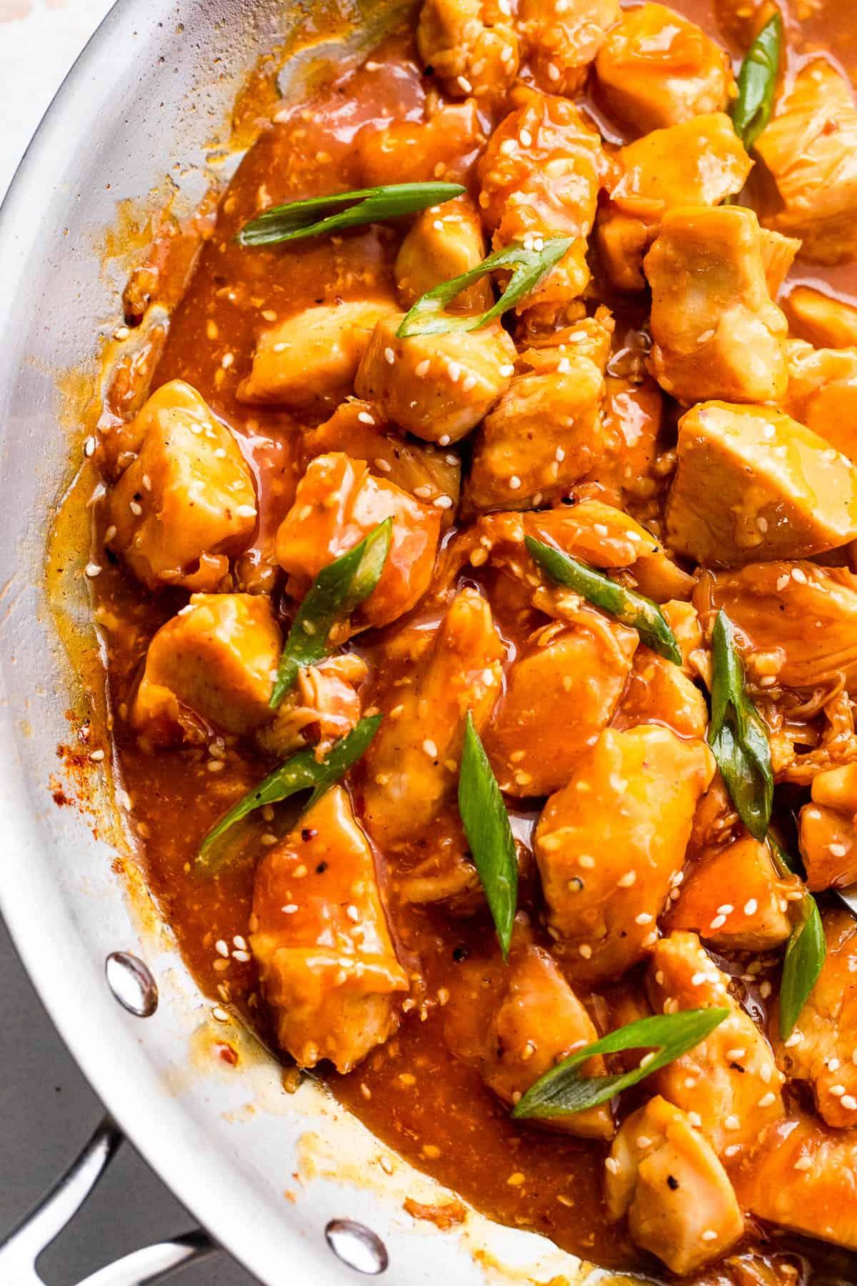 cooking chicken bites in orange sauce