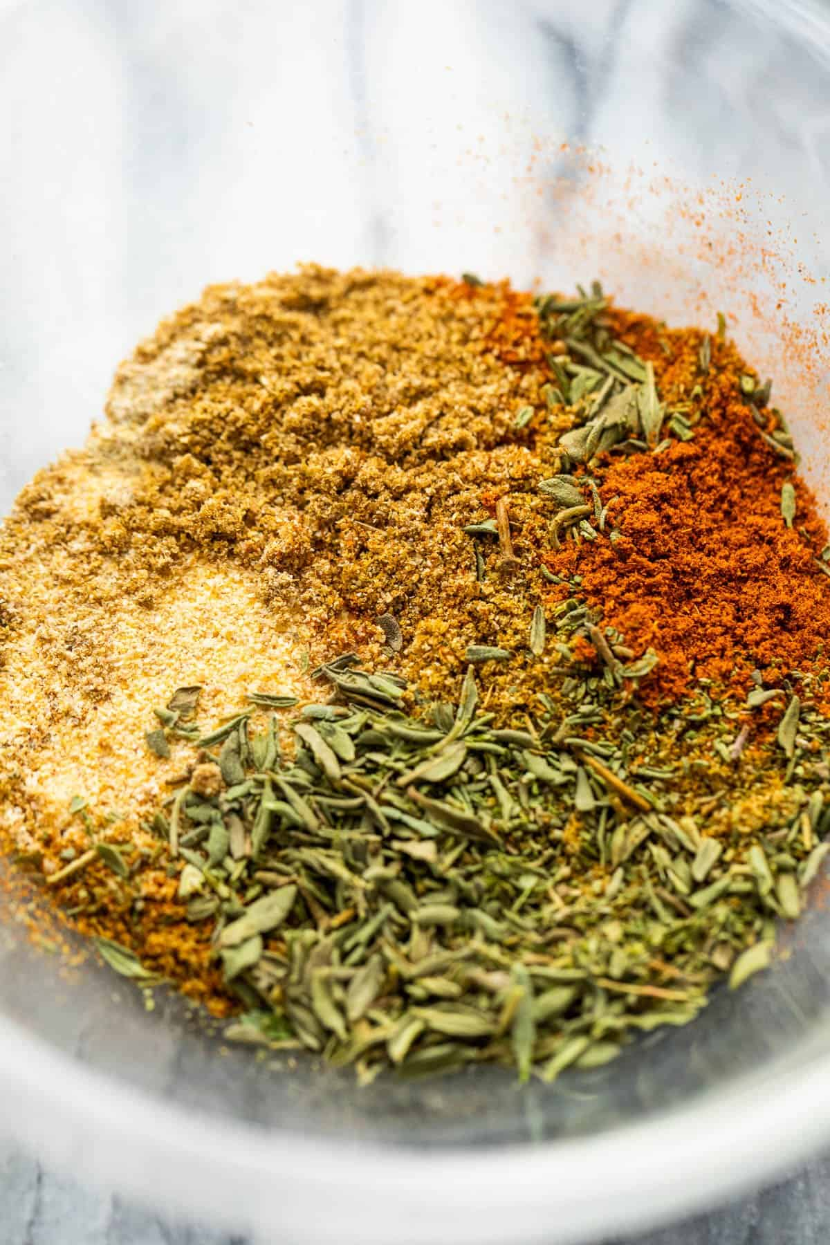 seasoning rub in a glass mixing bowl