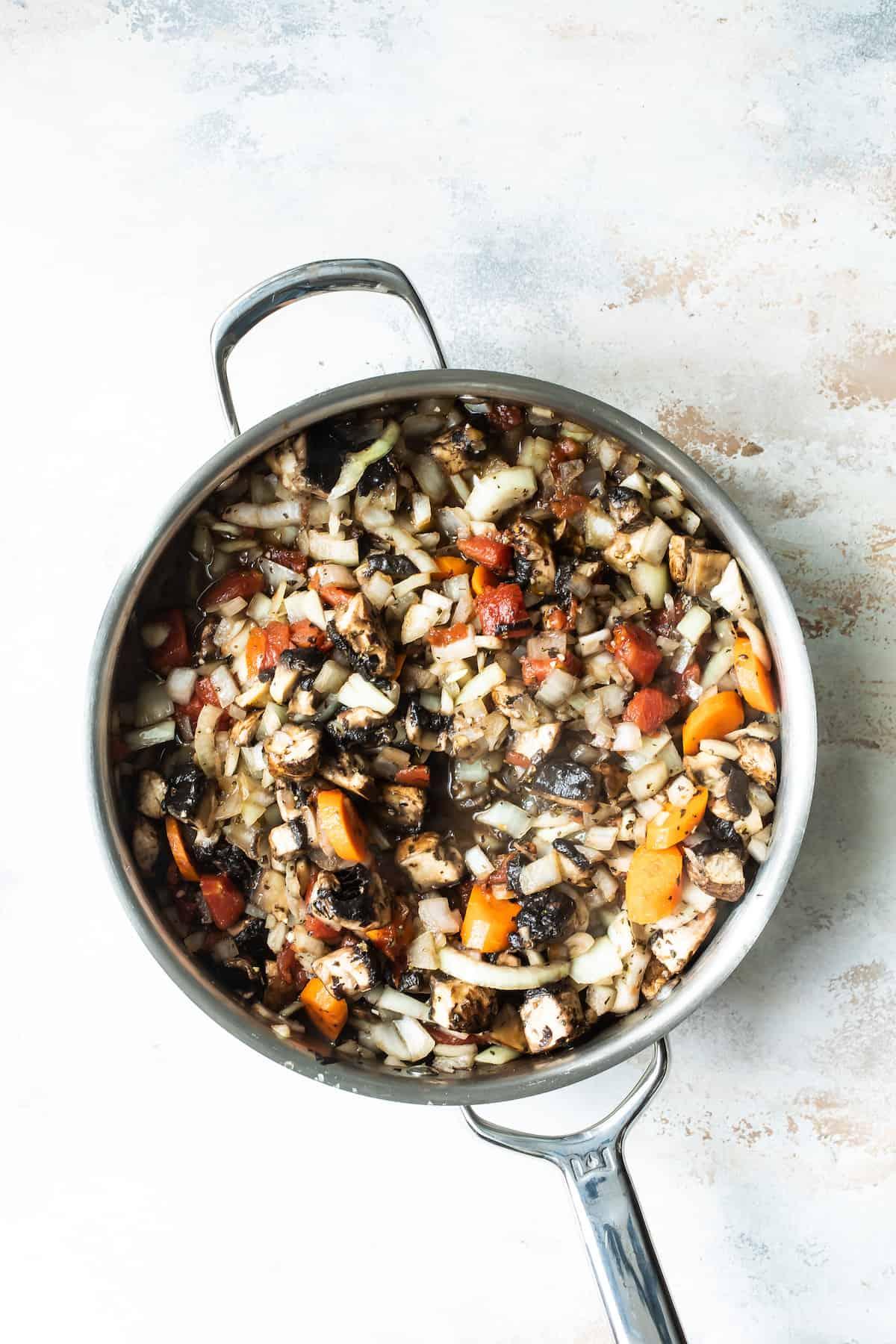 A Skillet Full of the Prepared Mushroom and Vegetable Mixture