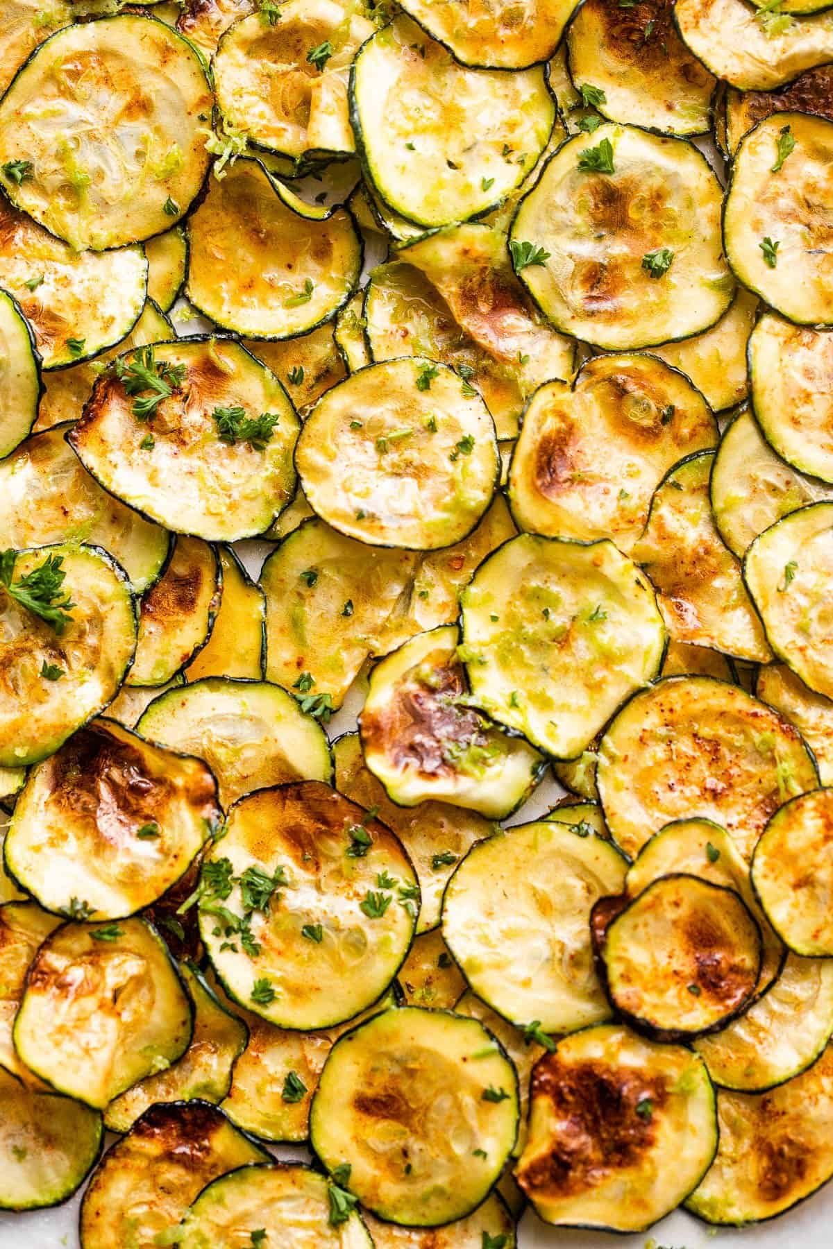 overhead close up shot of Air Fryer Zucchini Chips