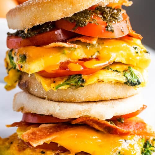 up close shot of english muffin egg breakfast sandwiches
