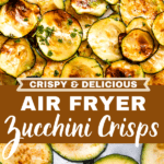 air fryer zucchini crisps two picture collage pin