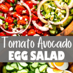 tomato avocado egg salad two picture collage pin