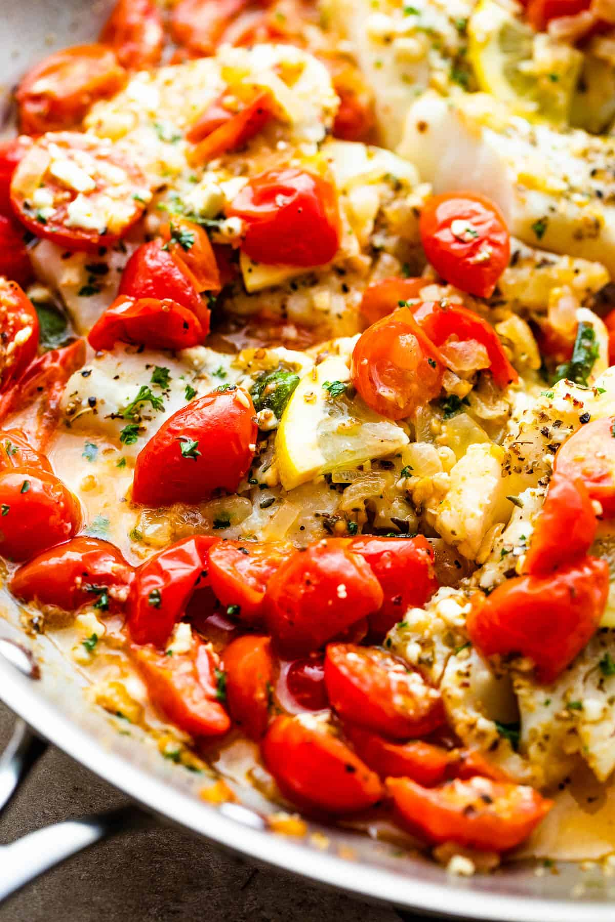 baked cod in cherry tomatoes sauce