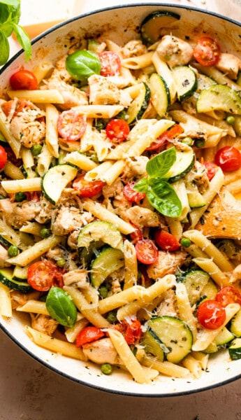 skillet with chicken pasta primavera