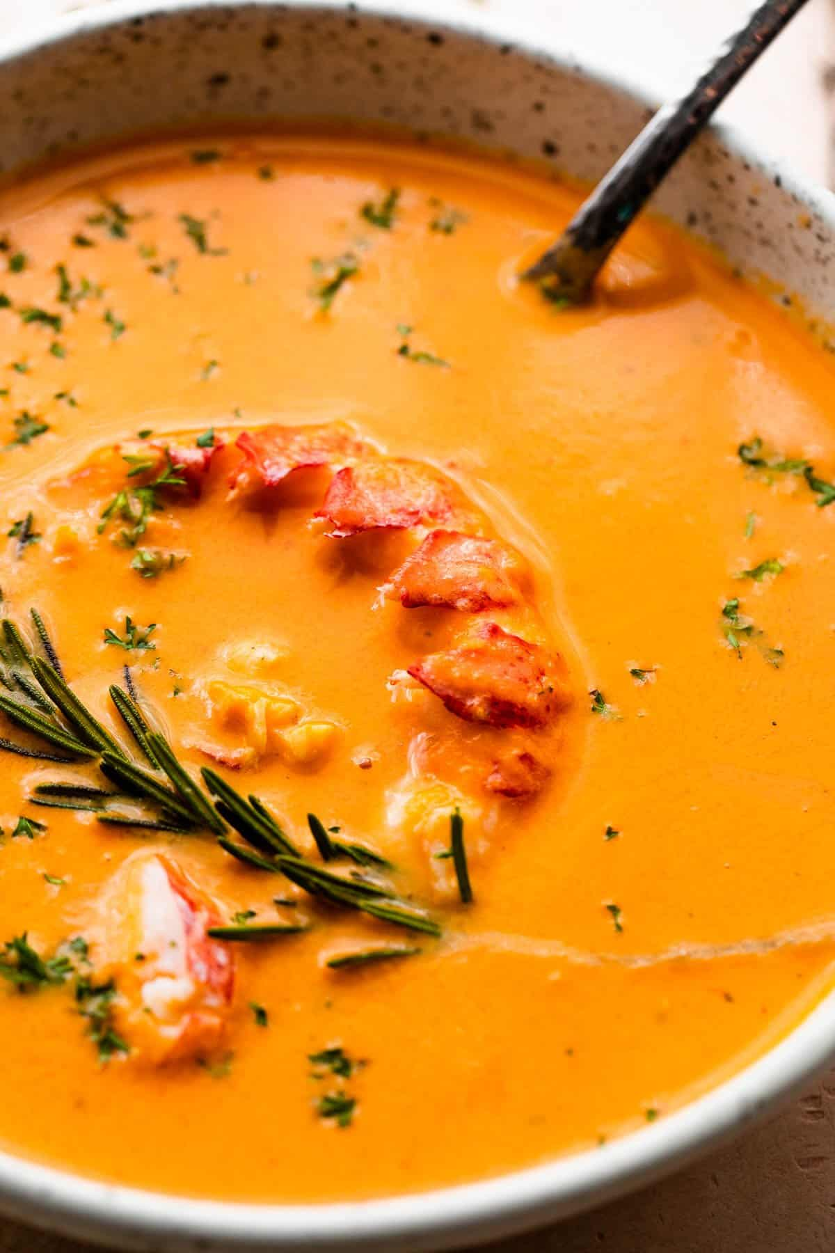 lobster bisque in a bowl garnished with rosemary and lobster meat