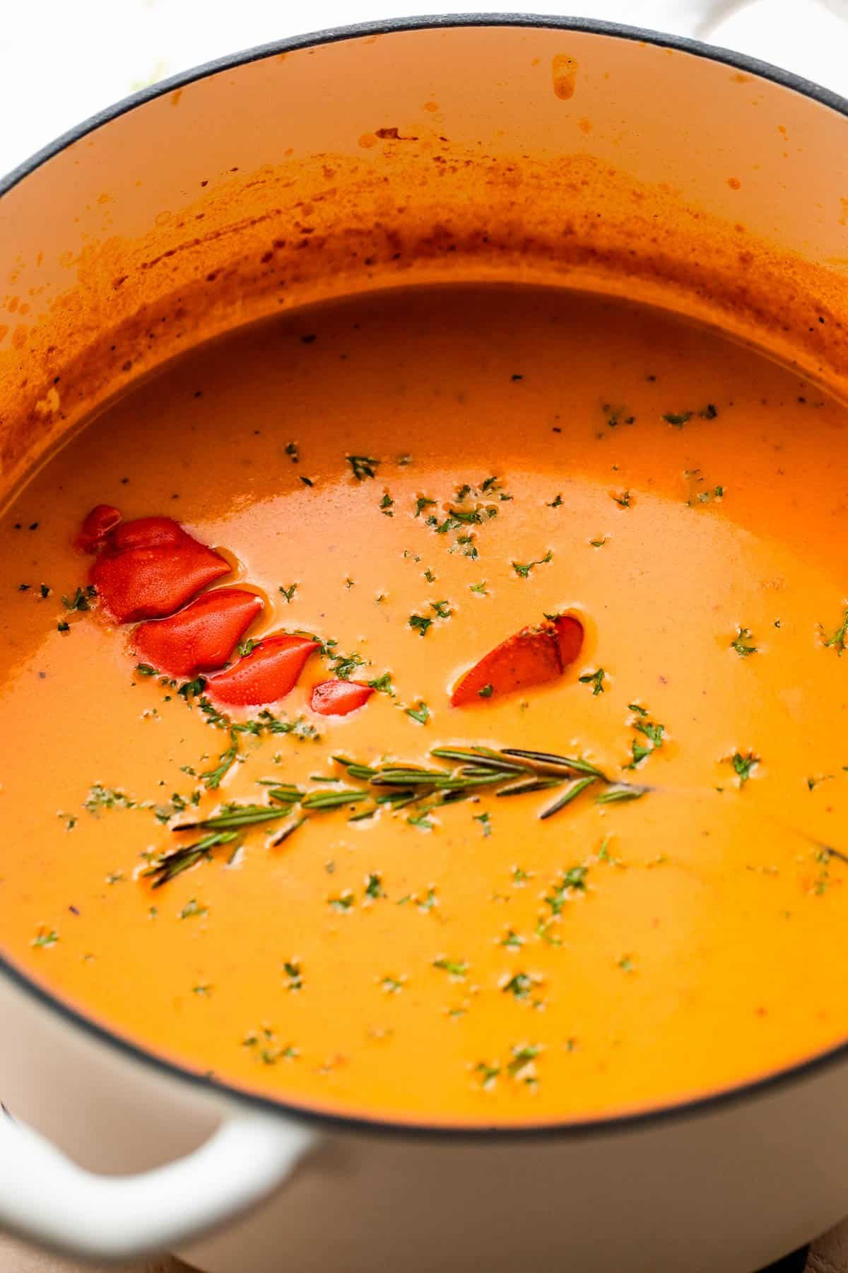 lobster bisque in a white dutch oven