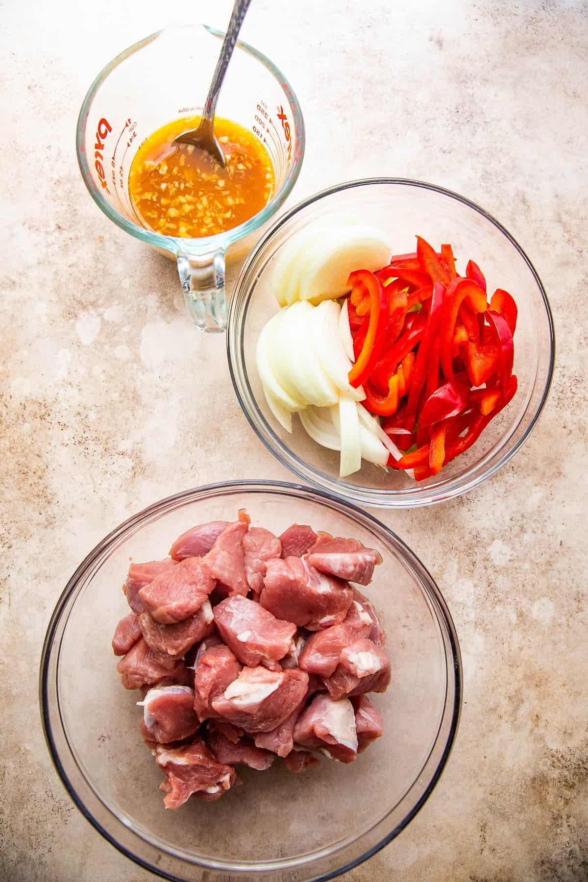 mise en place for pork chop suey