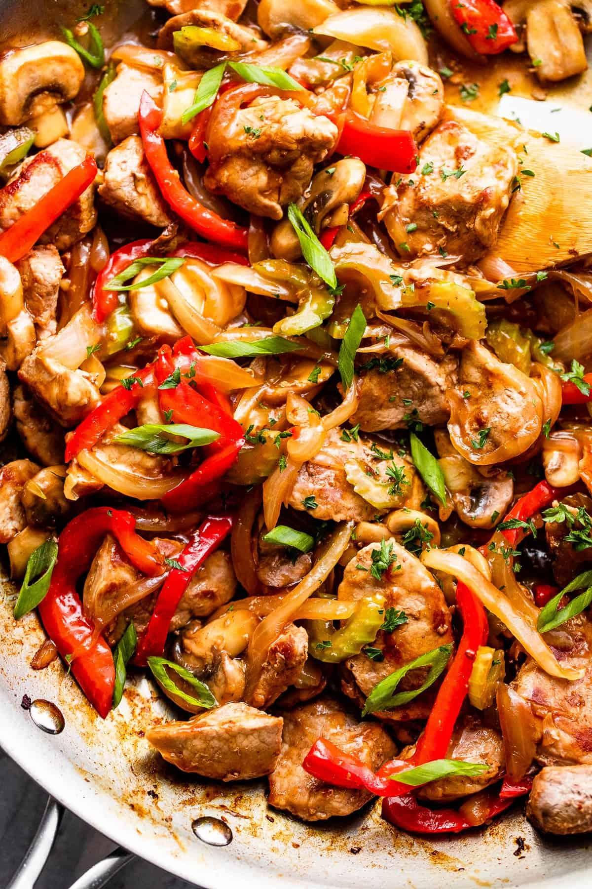 close up of pork chop stir fry