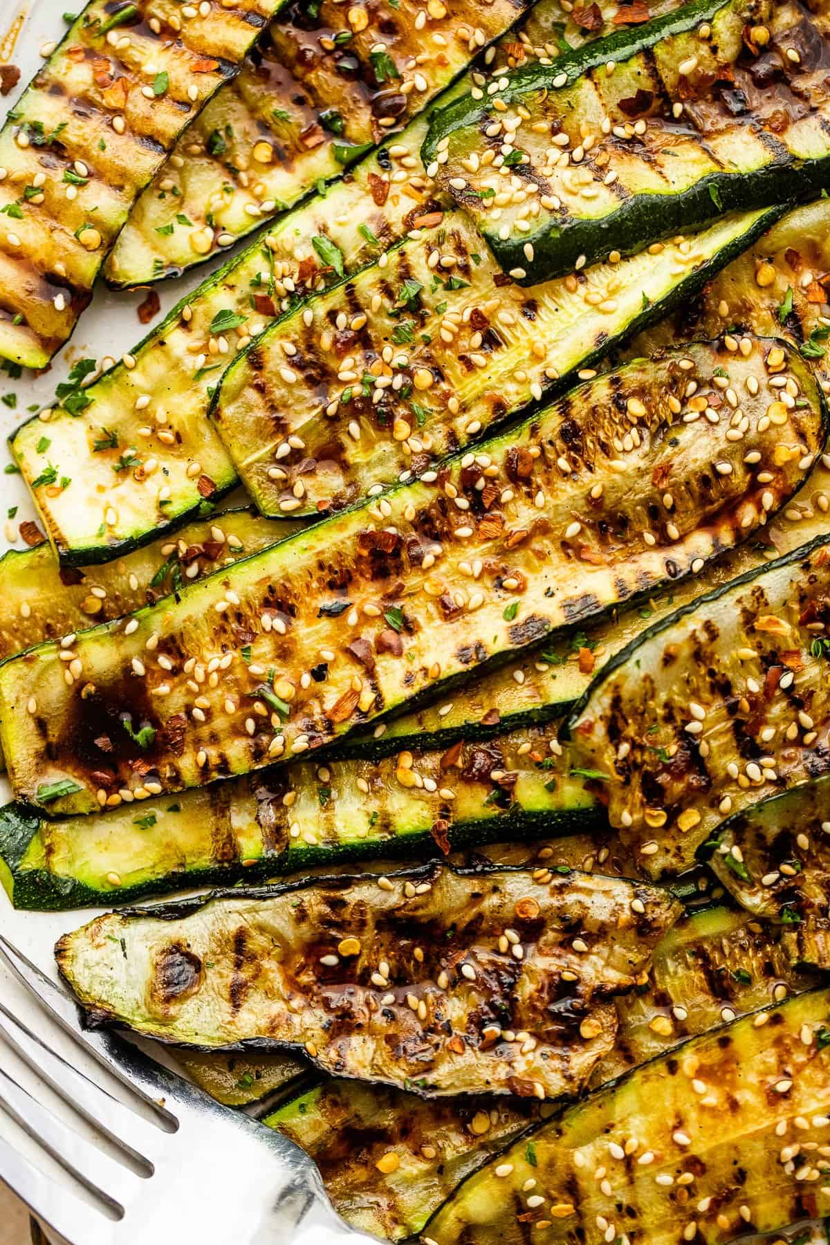up close shot of grilled zucchini slices