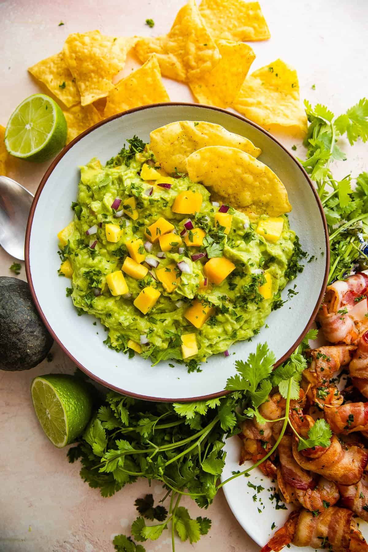bowl filled with guacamole and mangoes with tortilla chips and barbecued meat served around it