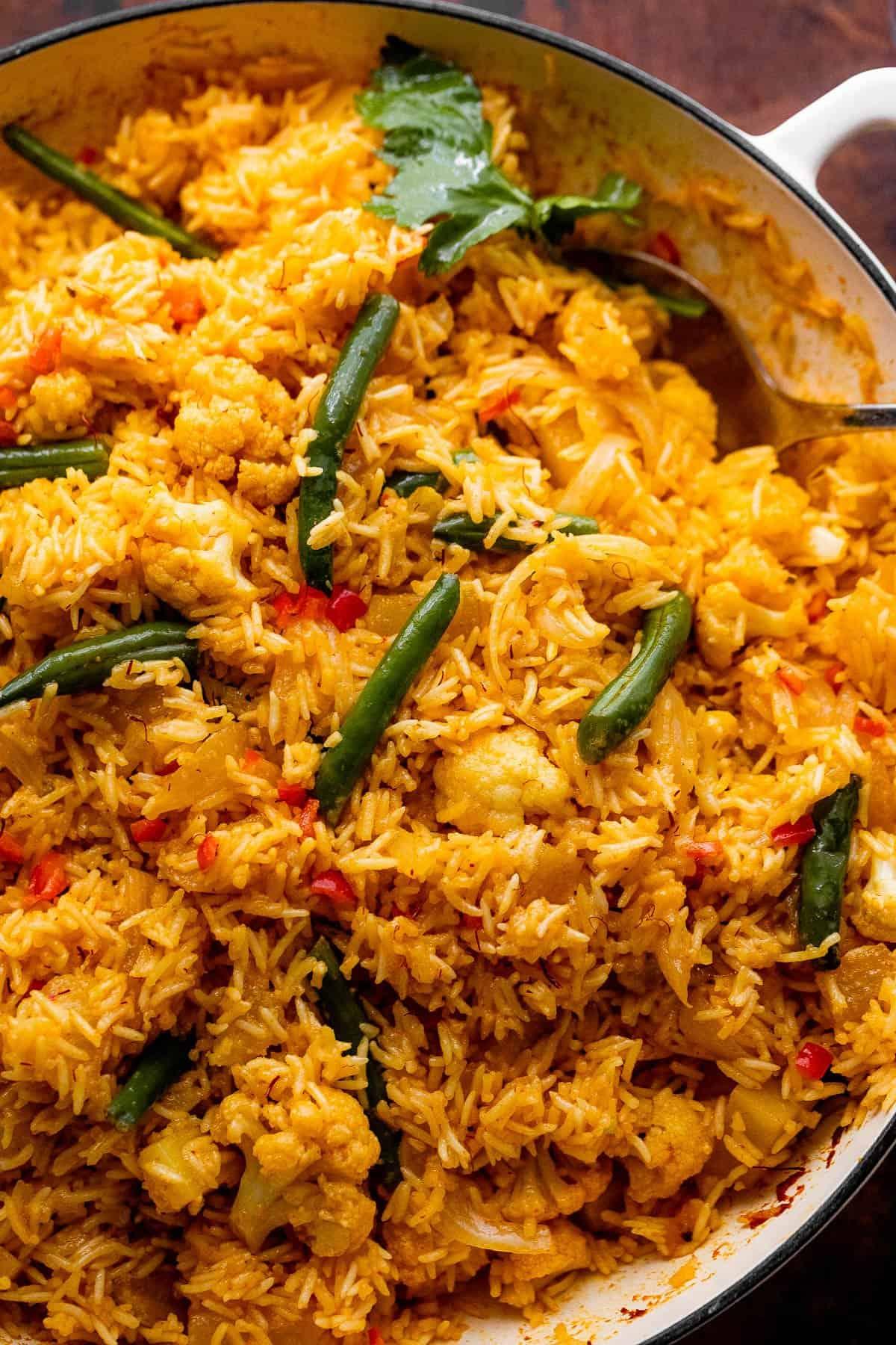 Spoon in Vegetable Biryani Rice