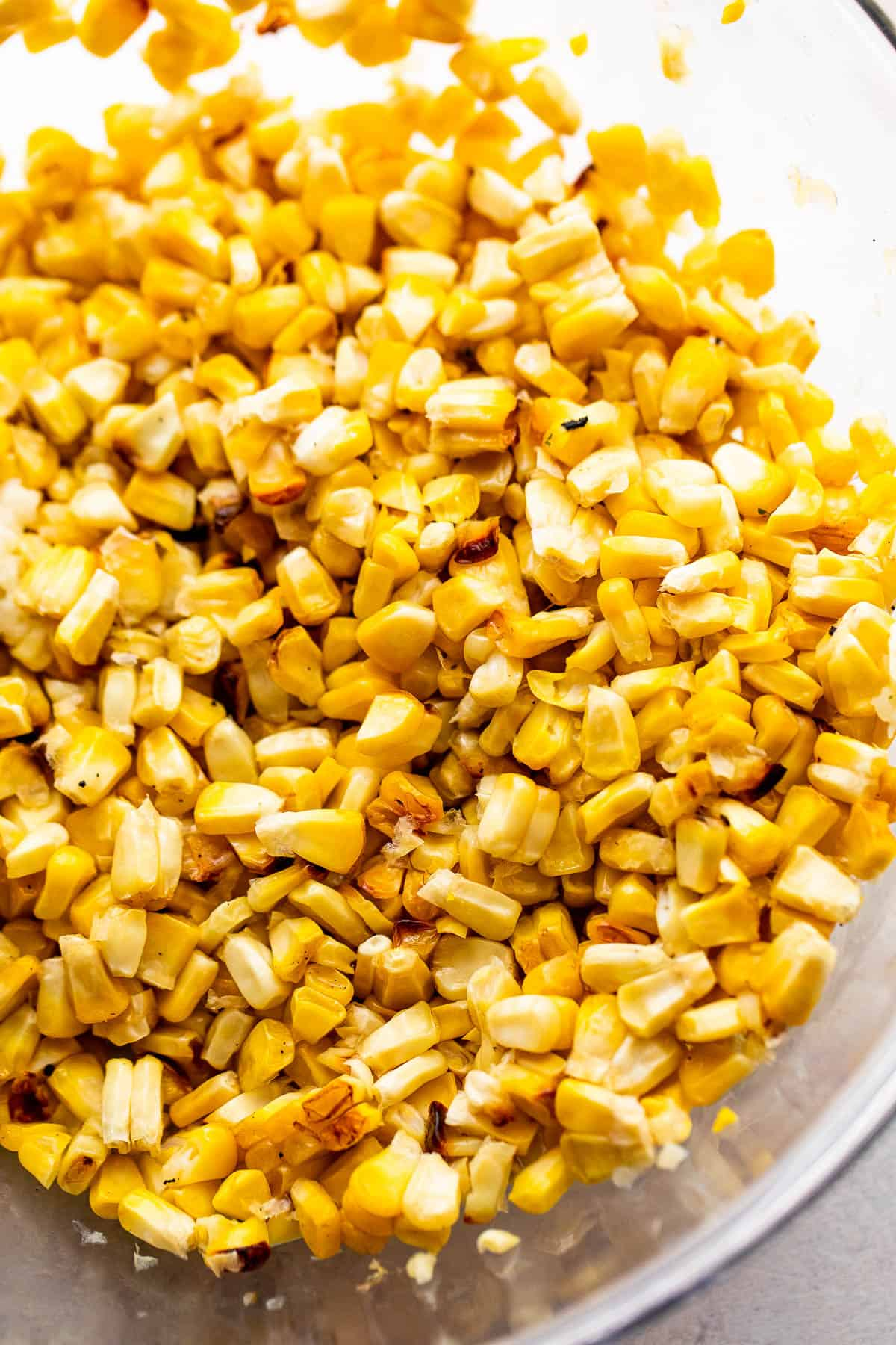 corn kernels in a glass bowl