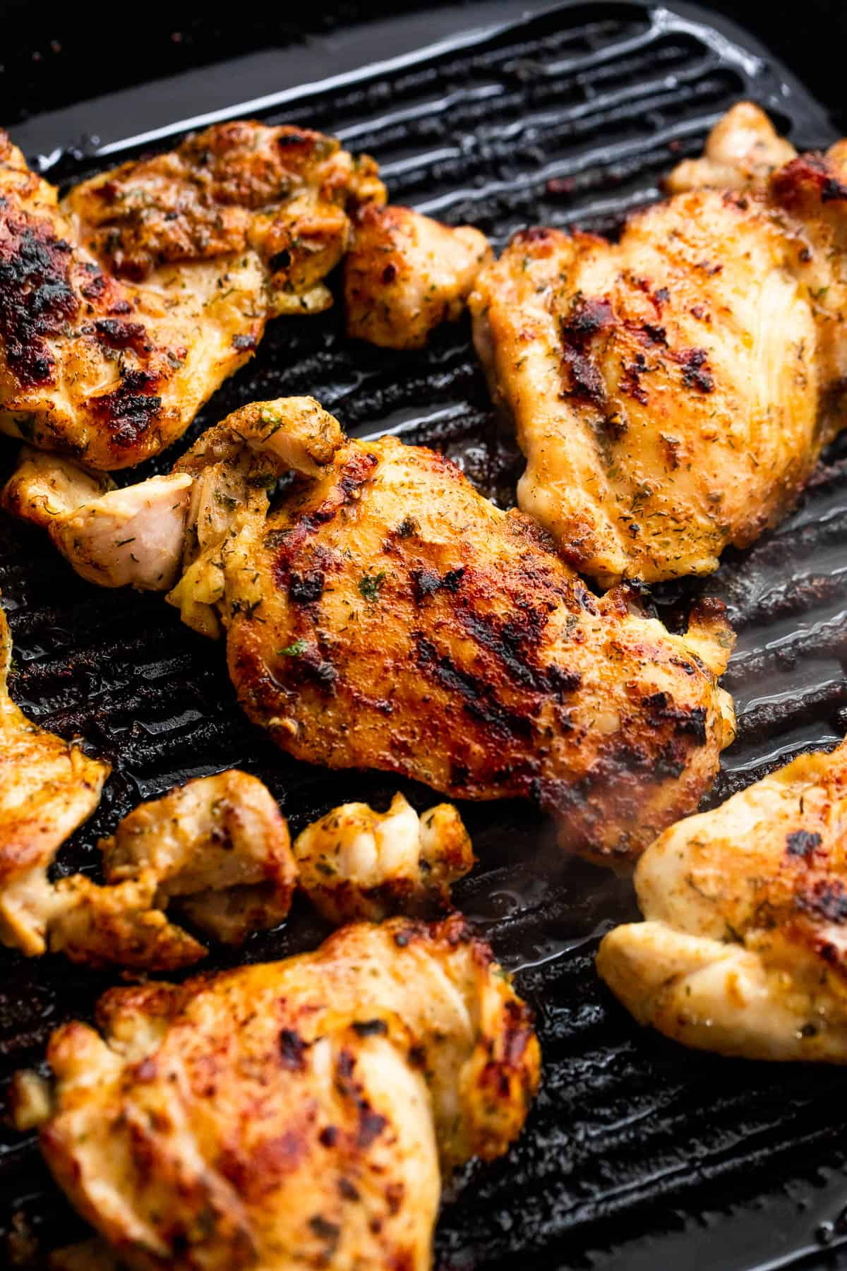 grilling chicken thighs on a grill pan