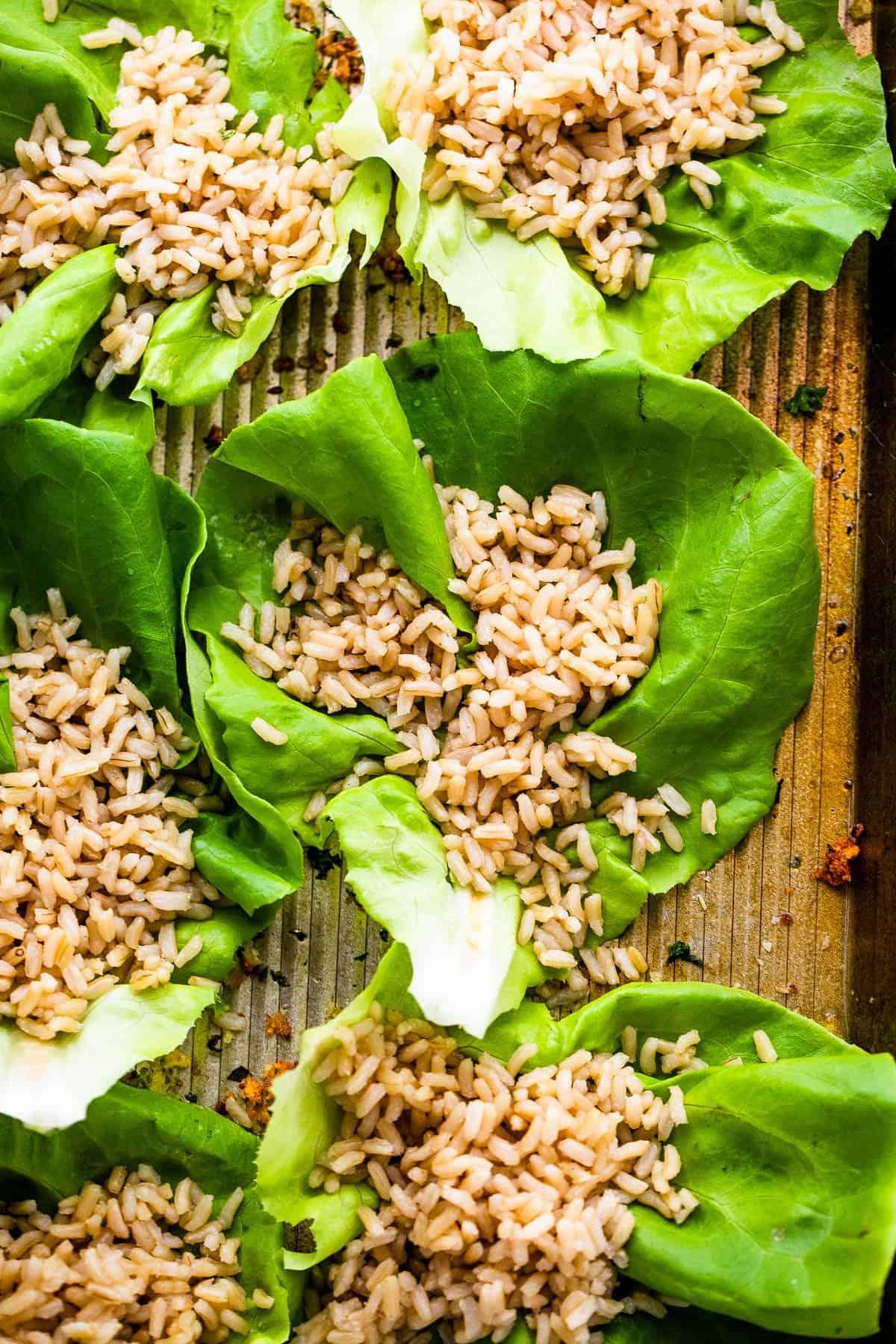 brown rice in bibb lettuce