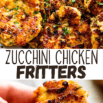 zucchini chicken fritters two picture collage pin