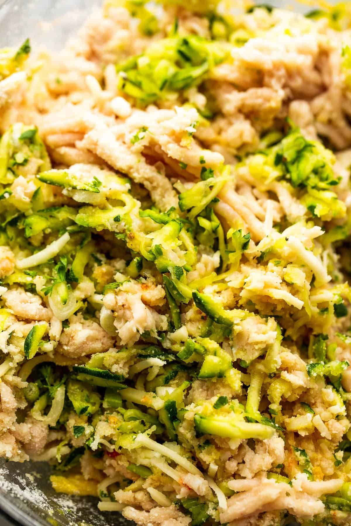 mixture of raw ground chicken and shredded zucchini