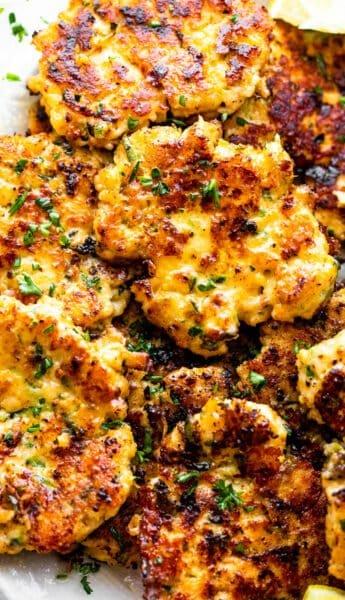 golden brown chicken zucchini fritters