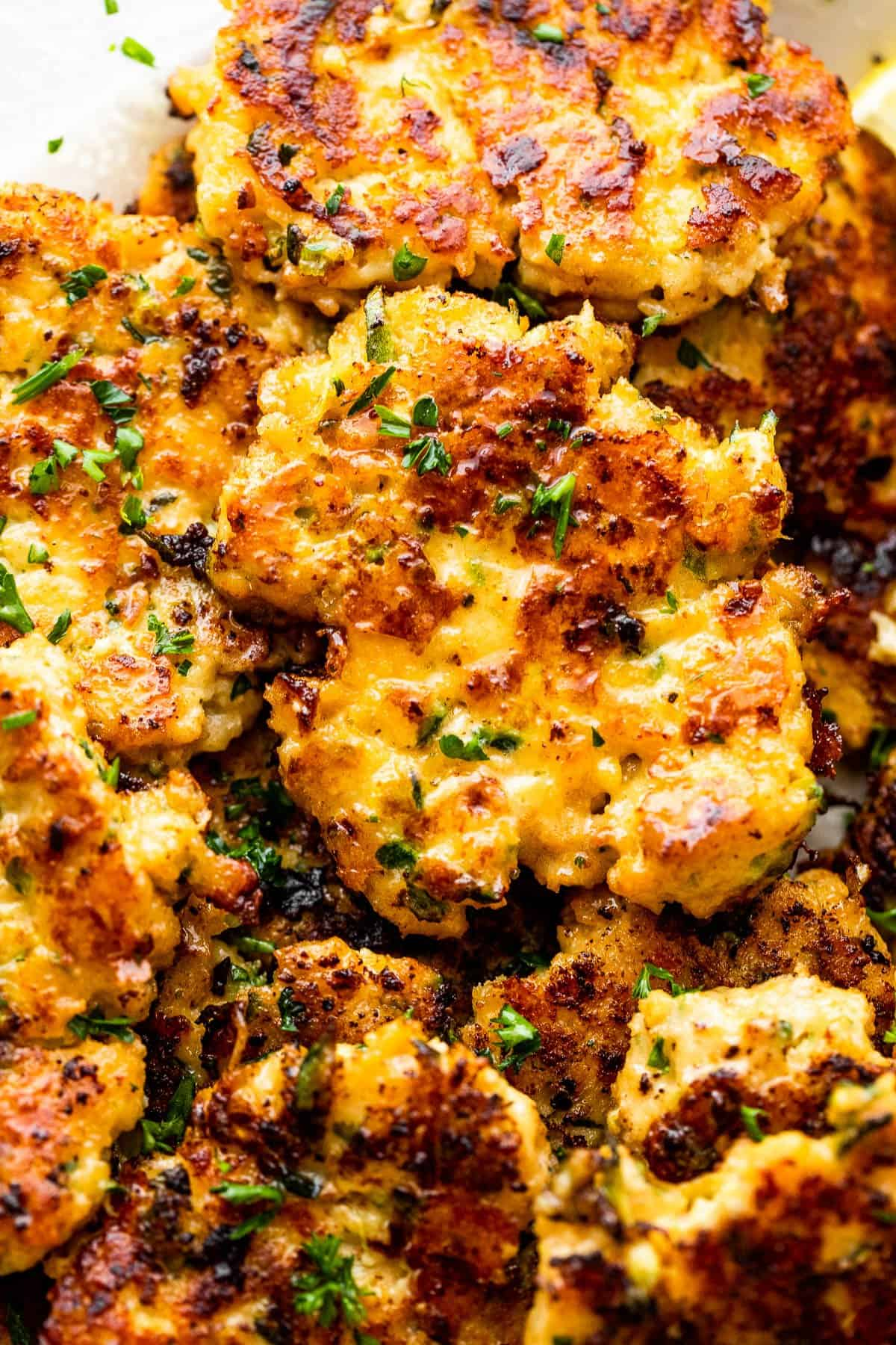 close up of fried zucchini chicken fritters