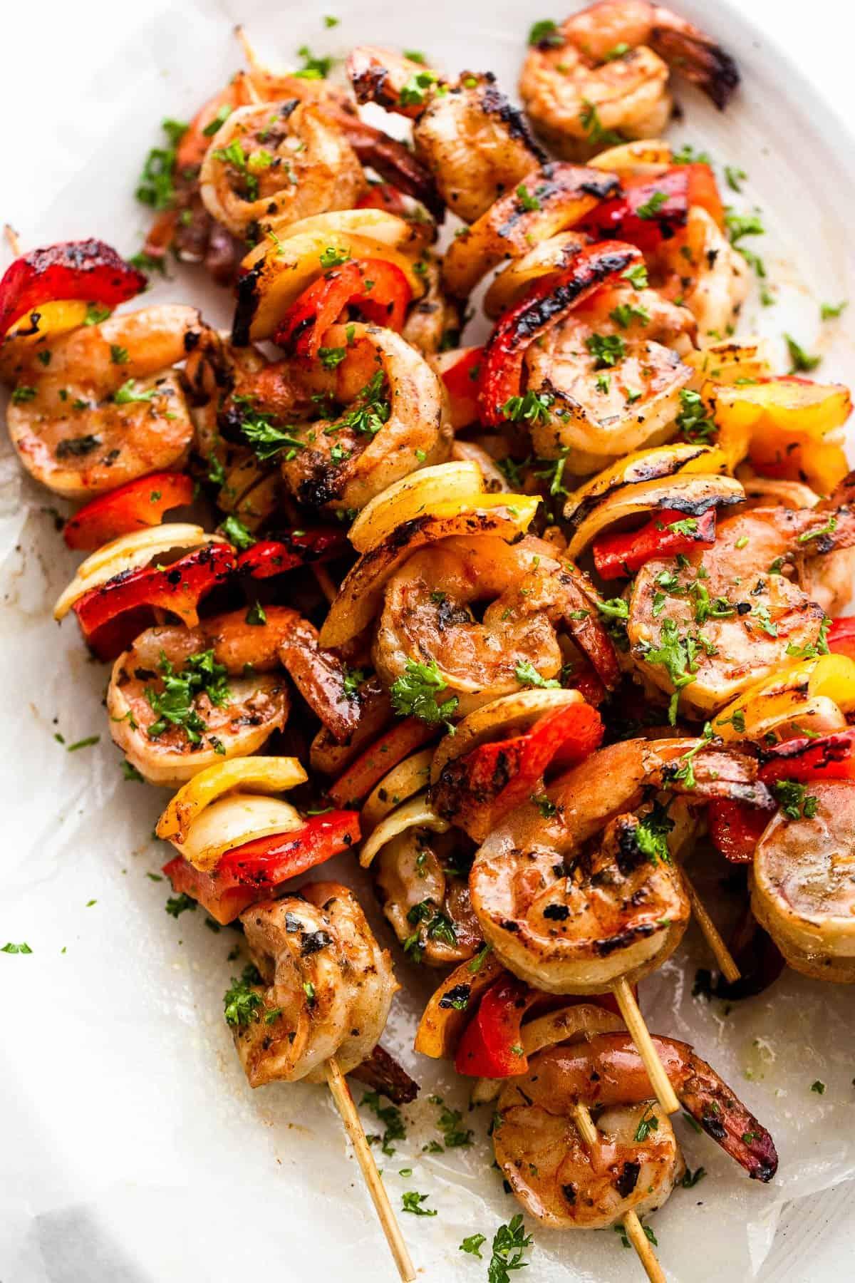 Grilled Shrimp Kabobs on a plate