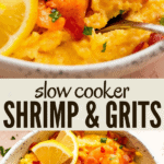 Slow cooker shrimp and grits two picture collage pinterest image