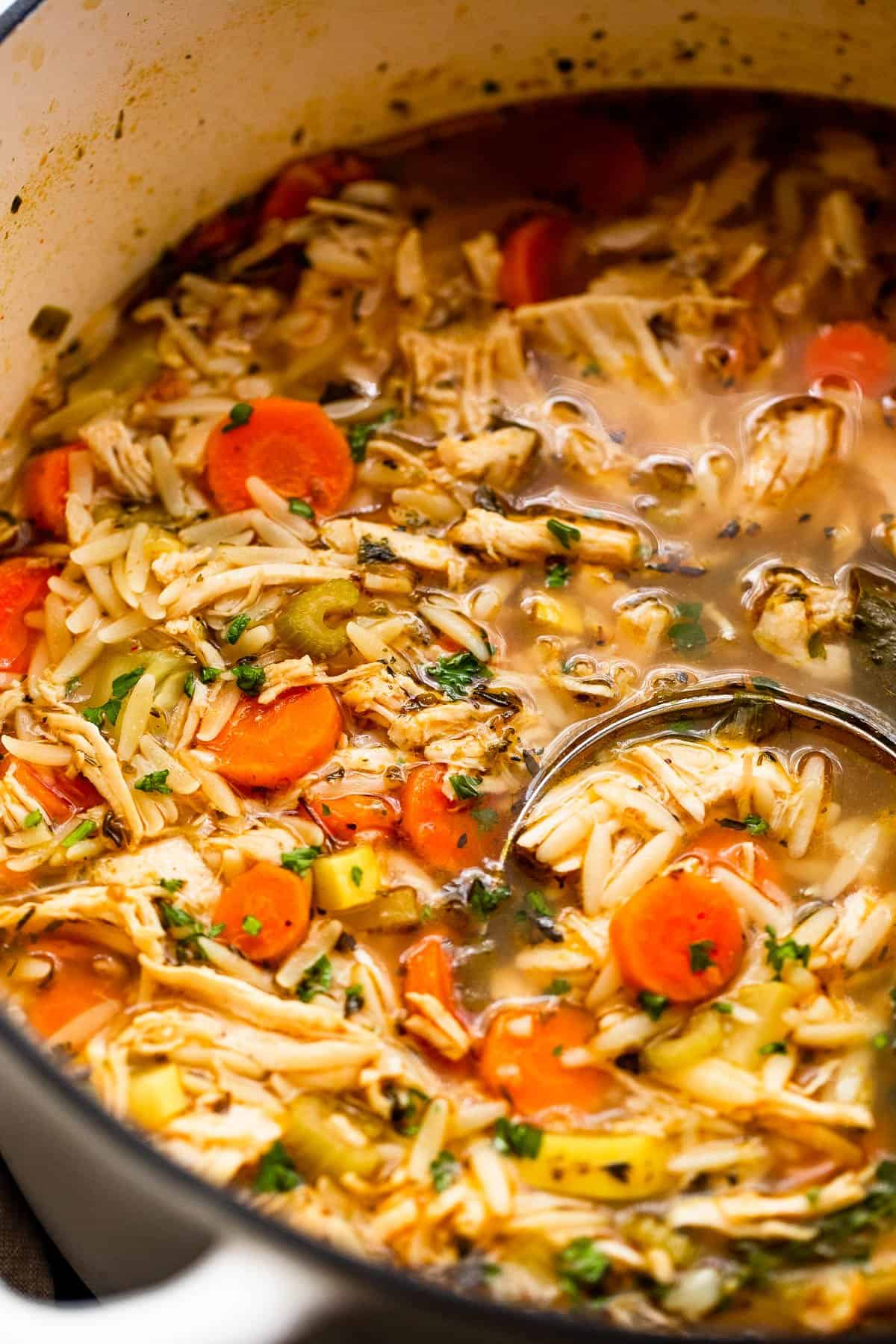 close up side shot of chicken orzo soup in a dutch oven