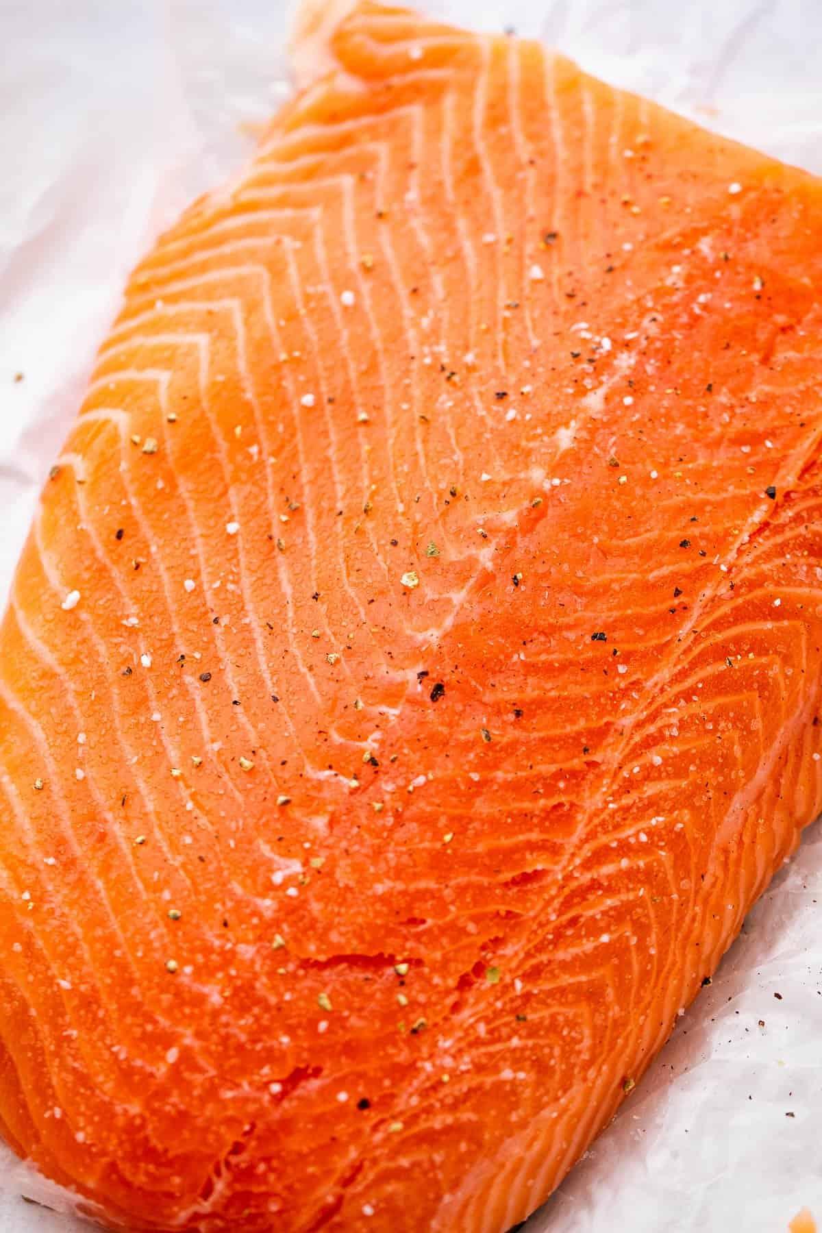 whole raw salmon fillet