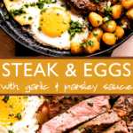 Steak and Eggs two picture collage pinterest image